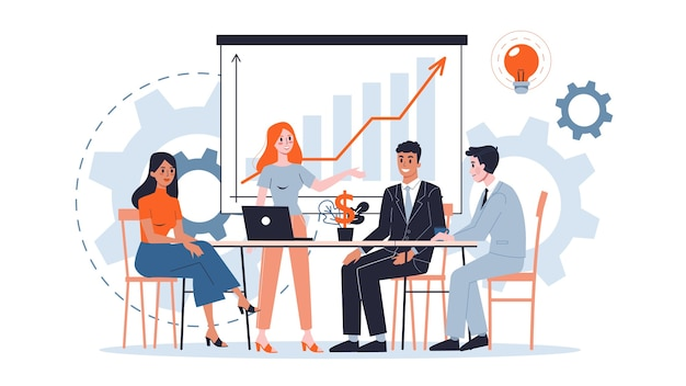 Teamwork concept illustration. idea of working together. business profit and financial growth. successful strategy.  illustration in cartoon style