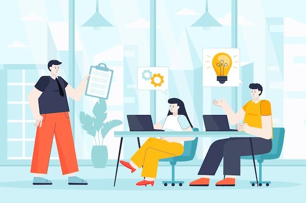ランディングページの人々のキャラクターのフラットなデザインイラストのチームワークの概念