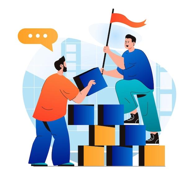 Концепция совместной работы в современном плоском дизайне коллеги, создающие стартап, вместе достигают карьеры