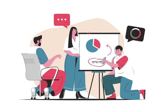 고립 된 팀워크 개념입니다. 팀이 함께 작업하고 데이터를 브레인스토밍하고 분석합니다. 평면 만화 디자인의 사람들 장면. 블로깅, 웹 사이트, 모바일 앱, 판촉 자료에 대한 벡터 일러스트 레이 션.