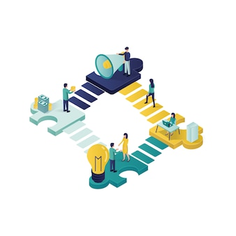 Teamwork concept isometric illustration . cooperation partnership concept illustration in isometric style.