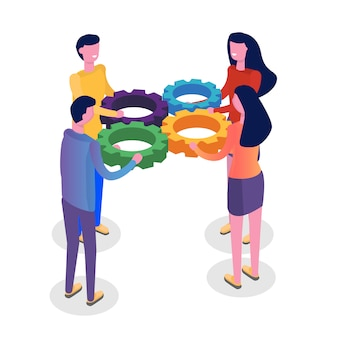 Teamwork concept isometric, people working together, business team solution.  illustration.
