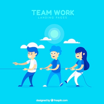 Teamwork concept landing page
