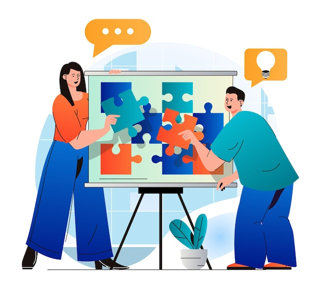 Teamwork concept in modern flat design colleagues putting puzzle together work together on project
