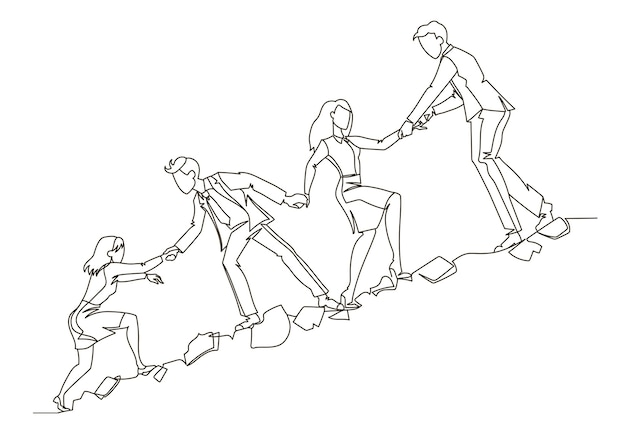 Teamwork concept outline. business people climbing together in mountain continuous line art. partnership, motivation concept.