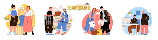 Teamwork concept scenes set employees work together in office team collaborates on project business communication collection of people activities Premium Vector