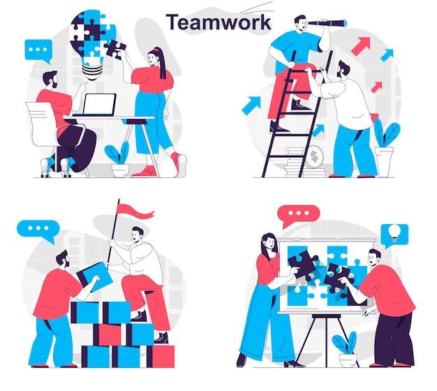 Teamwork concept set colleagues work brainstorming building develop together