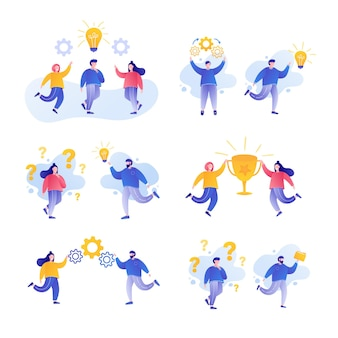 Концепция совместной работы набор людей, работающих вместе коллективная работа, мозговой штурм успеха