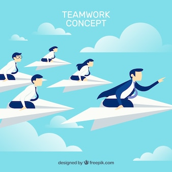 Teamwork concept in sky