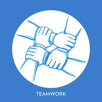 Teamwork concept. stack of business hands. cooperation teamwork, group, partnership,team buidding.