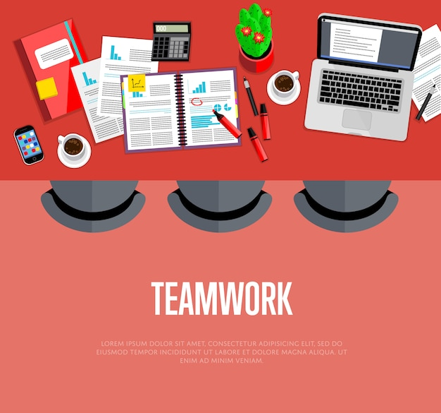 Teamwork concept. top view workspace