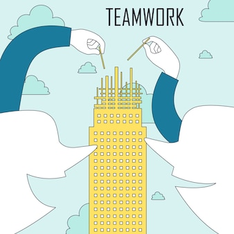 Teamwork concept: two people constructing a building together in line style