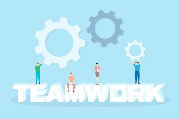Teamwork concept vector with 3d text teamwork and poeple work together