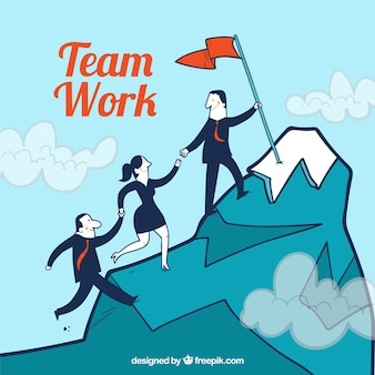 Teamwork concept with business people climbing mountain
