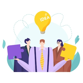 創造的なパズルのピースを保持しているビジネスマンとのチームワークの概念