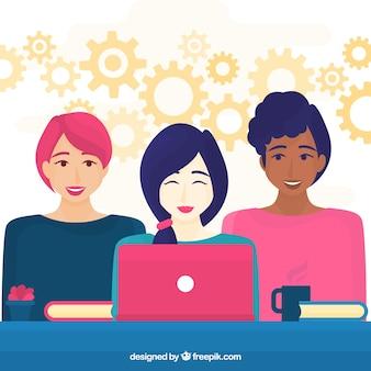 Teamwork concept with businesswomen