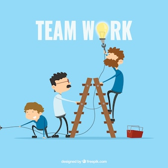Teamwork concept with flat design