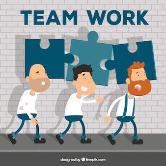 Teamwork concept with flat design