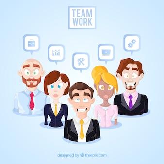 평면 디자인으로 팀워크 개념