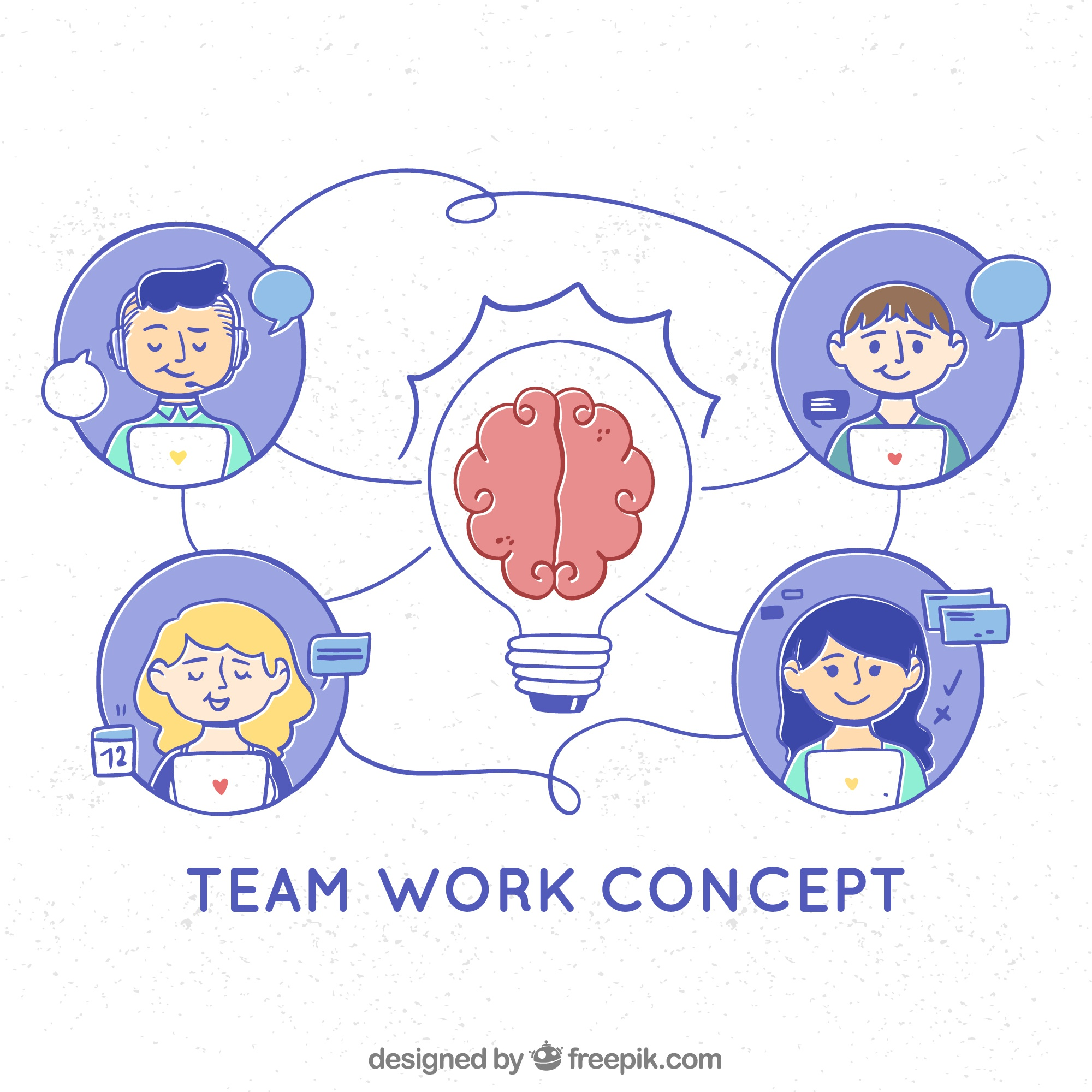 Teamwork concept with hand drawn style