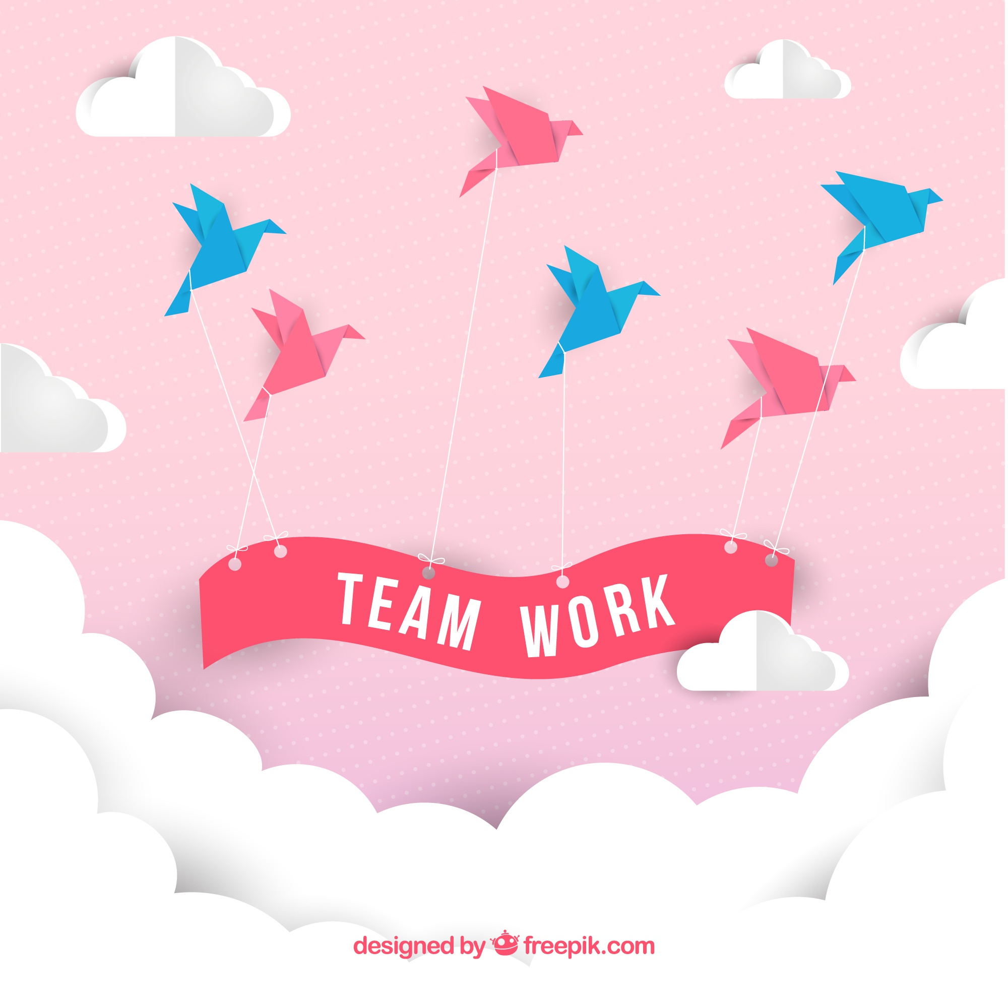 Teamwork concept with origami style