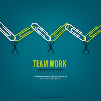 Teamwork concept with paperclips