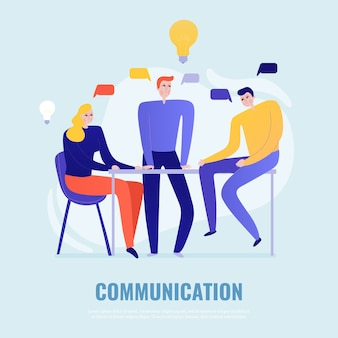 Teamwork concept with people brainstorming and sharing ideas flat vector illustration