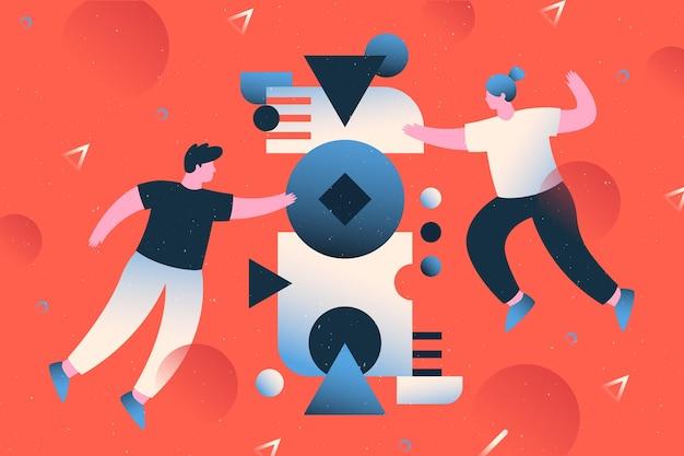 Concetto di lavoro di squadra con illustrazione di persone