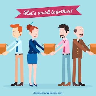 一緒に働く人々とのチームワークコンセプト