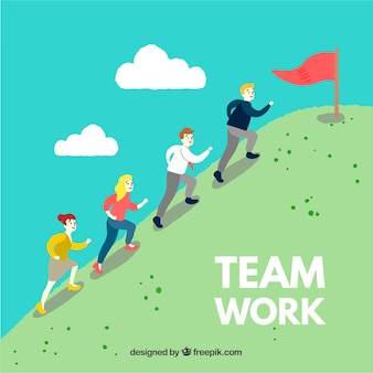 Teamwork concept with persons climbing hill