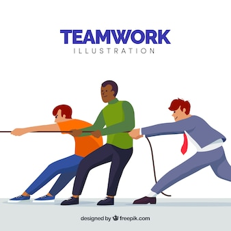 Teamwork concept with persons pulling on rope