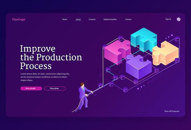 パズルのピースとレバレッジを備えたチームワークのコンセプト。生産プロセスのバナーを改善します。ビジネスマンの等角投影図のランディングページは、ジグソーブロックを接続します