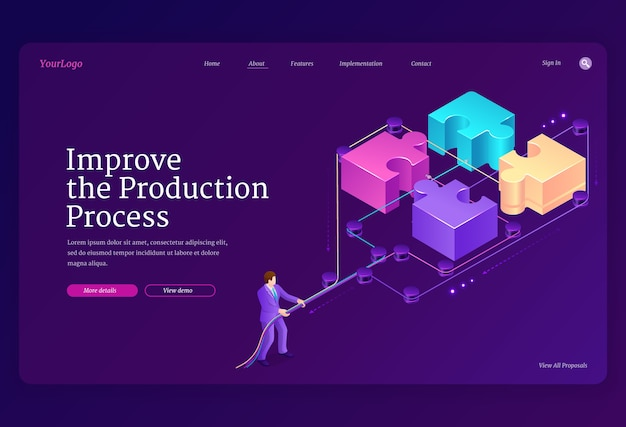 Teamwork concept with puzzle pieces and leverage. improve production process banner. landing page with isometric illustration of businessman connects jigsaw blocks together