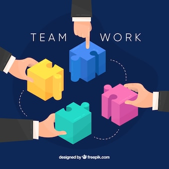 Teamwork concept with puzzle pieces
