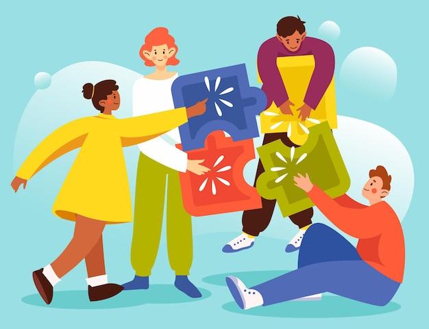 パズルのピースとチームワークの概念