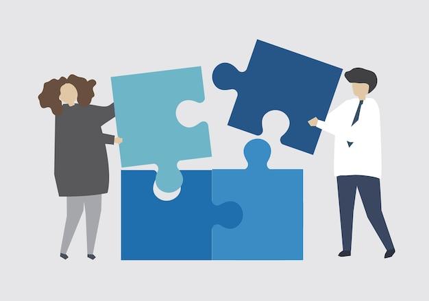 Lavoro di squadra che collega il pezzo del puzzle