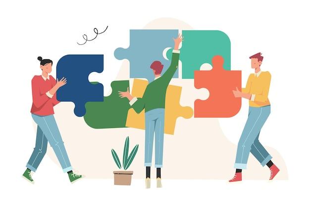 팀워크, 협력, 협력의 퍼즐 요소 기호를 연결하는 팀워크