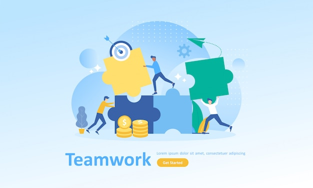 Teamwork connecting puzzle