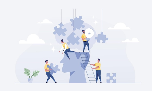 Teamwork connects jigsaw puzzles for brainstorming. vector illustration.
