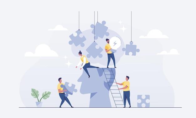 Работа в команде соединяет головоломки для мозгового штурма. векторные иллюстрации.