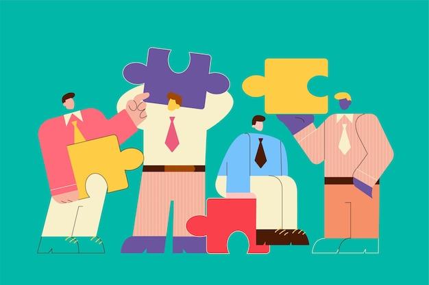 チームワーク、協力、ビジネスパートナーシップの概念。ビジネスマンはパズルのピースを持っている同僚をパートナーにします。