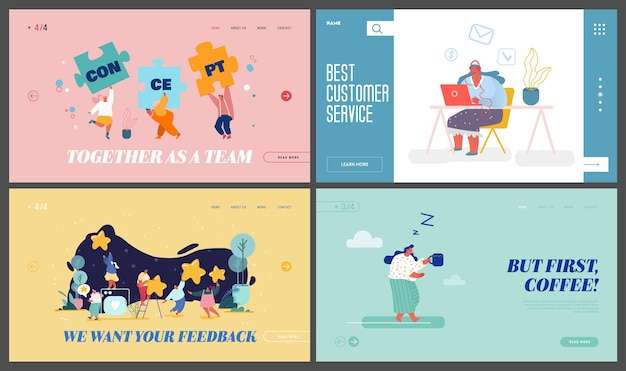 팀워크 협력, 고객 지원 서비스, 피드백, 커피 타임 웹 사이트 랜딩 페이지 세트.