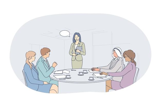 팀워크, 협력, 국제 파트너십 개념. 젊은 비즈니스 사람들이 직장인 파트너 만화 캐릭터 사무실 그림에서 프로젝트를 논의하는 다민족 그룹