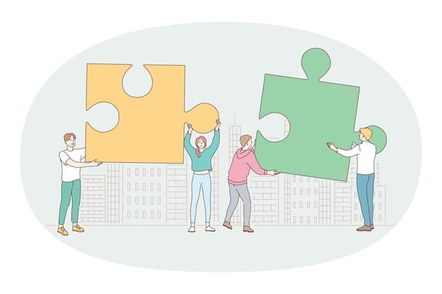 팀워크, 협력, 파트너십 개념. 젊은 사업 사람들 사무실 근로자 파트너 그룹