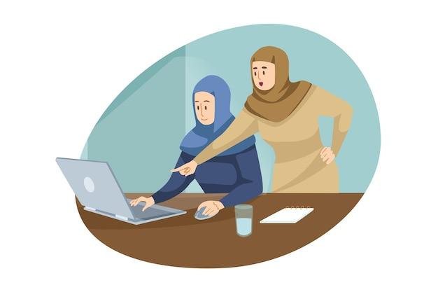 チームワーク、コワーキング、ビジネス、分析、会議のコンセプト。イスラム教徒のアラブのビジネスウーマンマネージャーのチームは、オフィスで働く上司の従業員です。集合的な議論とブレーンストーミングのイラスト。