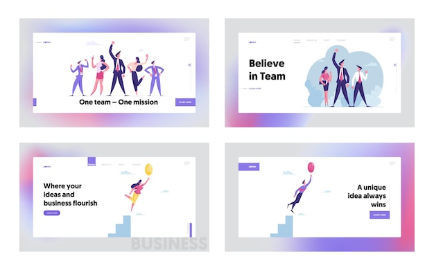 Teamwork and creative idea landing page template set professional business team