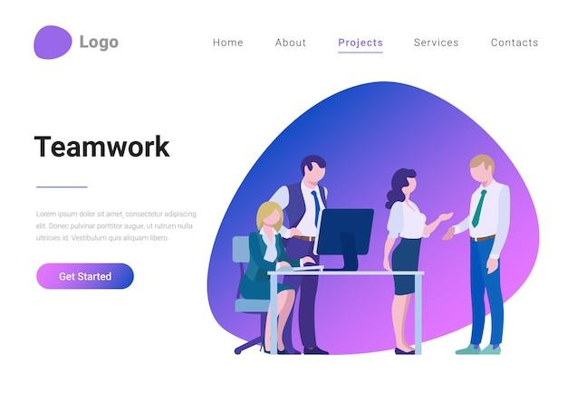 Teamwork creative team flat style landing page banner vector illustration concept