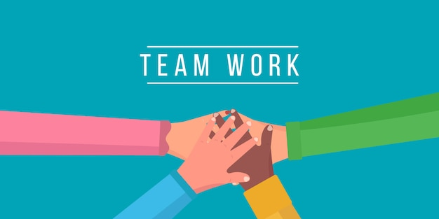 チームワーク、さまざまな人々が一緒に手を挙げます。ビジネス協力、団結、チームワークの人々。団結とチームワーク、トップビューを示す手のスタックを持つ友人。図。