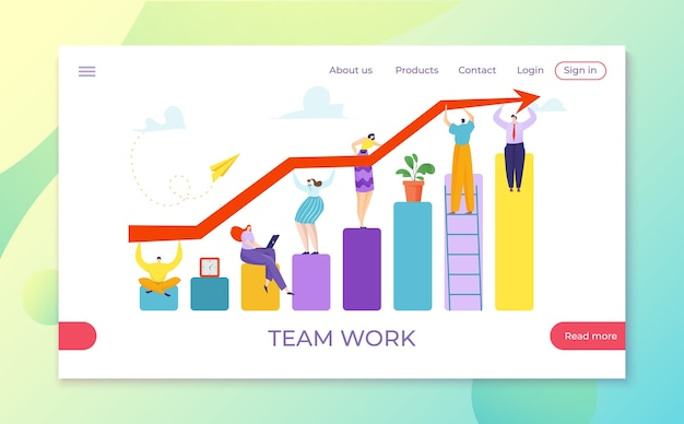 Teamwork finance graph and success investment progress illustration