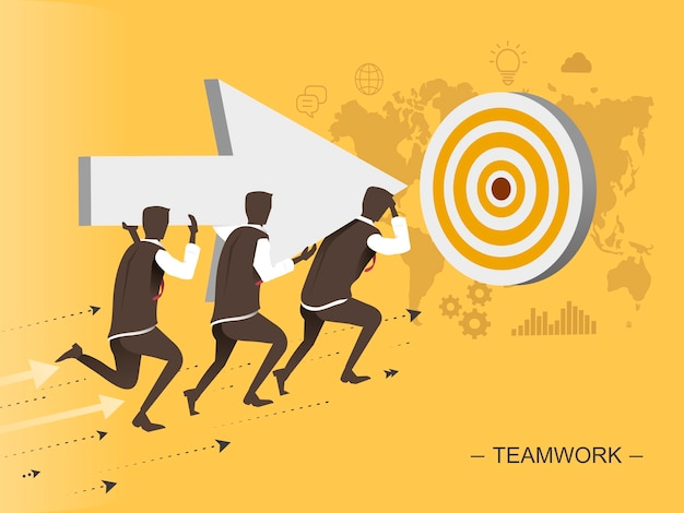 Teamwork flat design illustration men moving toward the target